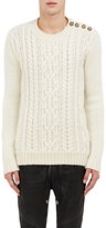 Balmain Men's Button-Shoulder Cable-Knit Sweater-IVORY