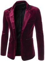 Mada Men Long Sleeve Coat One-Button Luxury Suit Solid Blazer Jacket US Large