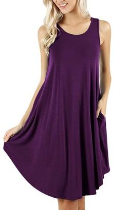 Jerfer Women Women's Sleeveless Dress Pockets Casual Swing T-Shirt Dresses