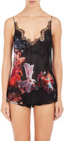 Carine Gilson Women's Floral Lace-Trimmed Silk Georgette Camisole-BLACK