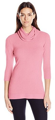 Sag Harbor Women's Marilyn Neck Tunic Cashmerlon Sweater with Ribbed Cowl