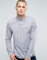 Lacoste Polo Shirt In Long Sleeve Gray Regular Fit