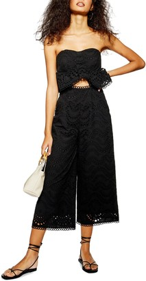 Topshop Strapless Cropped Jumpsuit