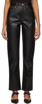 Proenza Schouler Black Faux-Leather Trousers