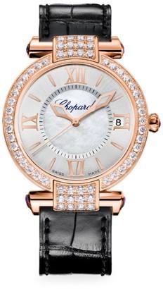 Chopard Imperiale 18K Rose Gold, Diamond, Amethyst & Alligator-Strap Watch