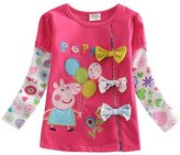 Three Four Kid Baby Girls' Long Sleeve Cartoon Flower Bow Top T-shirt Tee Rose
