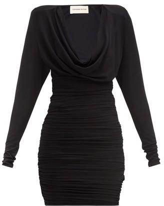 Alexandre Vauthier Cowl-neck Ruched Jersey Mini Dress - Black