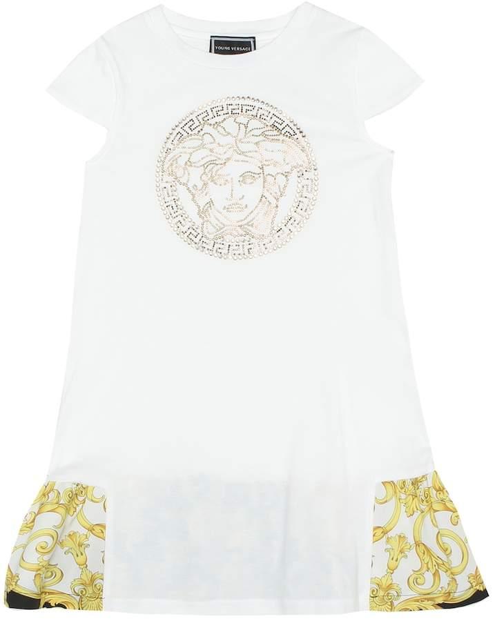 Versace Kids Embellished cotton dress