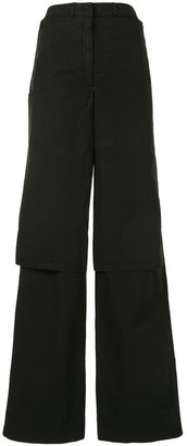Lemaire Crop-Overlay Wide Leg Trousers
