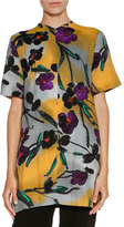 Marni Floral V-Neck Short-Sleeve Tunic, Dark Smoke