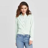 Universal Thread Women's Floral Print Ruffle Long Sleeve Henley Button-Down Shirt - Universal ThreadTM
