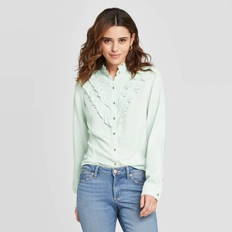 Universal Thread Women's Floral Print Ruffle Long Sleeve Henley Button-Down Shirt - Universal ThreadTM