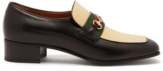 Gucci Aylen Gg-horsebit Leather Loafers - Mens - Black Multi