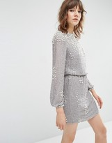 Asos Pearl Cluster Long Sleeve Mini Dress