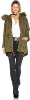 J.o.a. Drawstring Jacket with Faux Fur Trim in Green. - size S (also in )