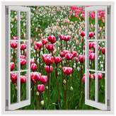 Alonline Art - Tulips Fake 3D Window PRINT On CANVAS (100% Cotton, UNFRAMED Unmounted) Artwork Canvas For Living Room Canvas For Bedroom Canvas For Home Decor Oil Paintings Prints