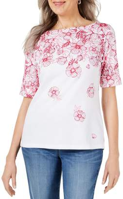 Karen Scott Petite Printed Elbow-Sleeve Cotton Blend Top