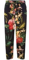 Dorothy Perkins Womens Petite Black Tropical Palazzo Trousers- Black