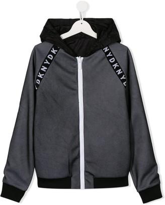 DKNY TEEN logo tape hooded jacket