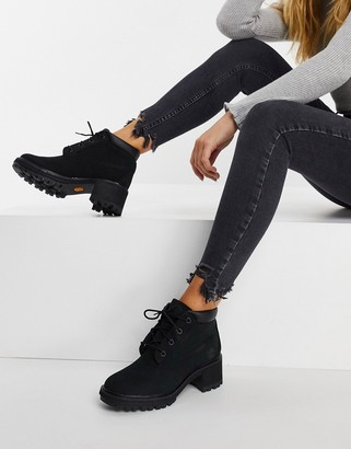 Timberland Kinsley lace up heeled ankle boots in black