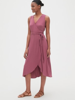 Gap Sleeveless Knit Wrap Midi Dress