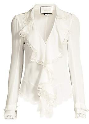 Alexis Women's Phineas Lace Ruffle Silk Blouse