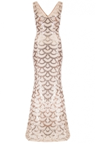 Quiz Champagne Scallop Sequin Fishtail Maxi Dress