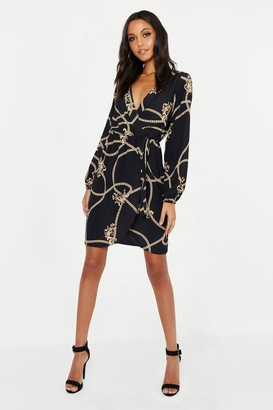 boohoo Tall Chain Mixed Print Wrap Midi Dress