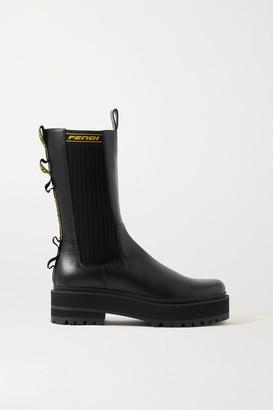 Fendi Logo Jacquard-trimmed Leather Chelsea Boots - Black