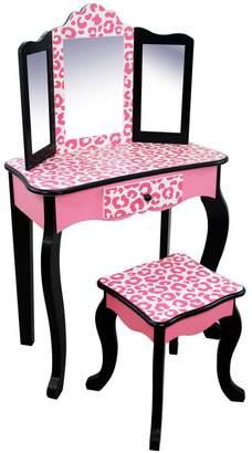 Fashion Prints Leopard Vanity & Stool Set