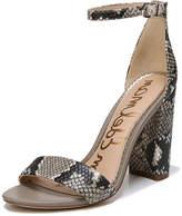 Sam Edelman Yaro Snake-Print Leather Chunky-Heel Sandal