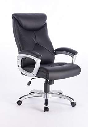 Home Source Executive Office Chair Faux Leather Black Boardroom Director Chrome Base Tilt