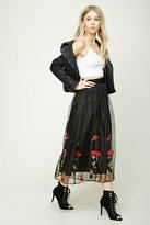Forever 21 FOREVER 21+ Rose Embroidered Maxi Skirt