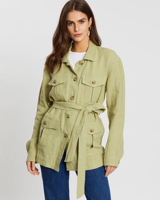 Aere Belted Jacket With Pockets