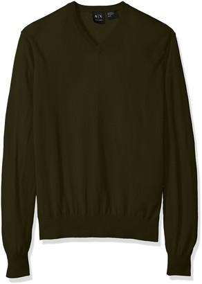 A X Armani Exchange Men's Ls V Neck Sweater Knit