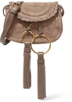 See by Chloe Polly Mini Leather-trimmed Tasseled Suede Shoulder Bag - Stone