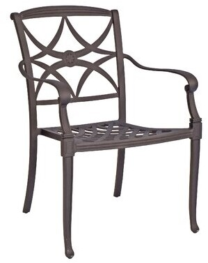 """Woodard Wiltshire Patio Dining Chair Woodard Cushion Color: No Cushion, Frame Color: Textured Black, Seat Height: 16"""""""