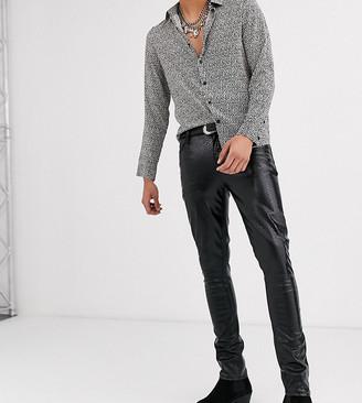 Asos Design DESIGN Tall super skinny coated leather look jeans in black crocodile