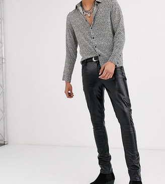 ASOS DESIGN Tall super skinny coated leather look jeans in black crocodile