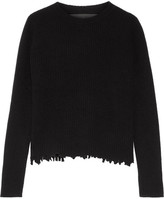 The Elder Statesman Distressed Ribbed Cashmere Sweater - Black