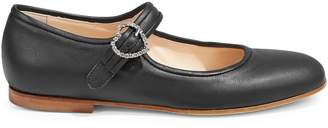 Brother Vellies Embellished Leather Mary Jane Flats
