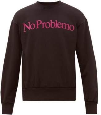 Aries No Problemo Flocked Cotton Sweatshirt - Mens - Black