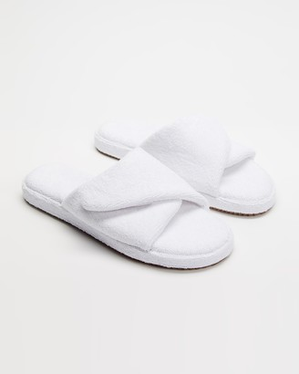 Staple Superior - White Sandals - Vegas Terry Towelling Velcro Slides - Size M9/W11 at The Iconic