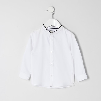 River Island Mini boys white grandad collar shirt