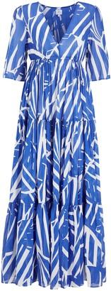 John Lewis & Partners Maui Tiered Maxi Kaftan Dress, Blue