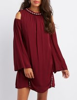 Charlotte Russe Embroidered Cold Shoulder Shift Dress