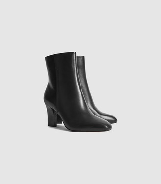 Reiss Ruby - Leather Ankle Boots in Black