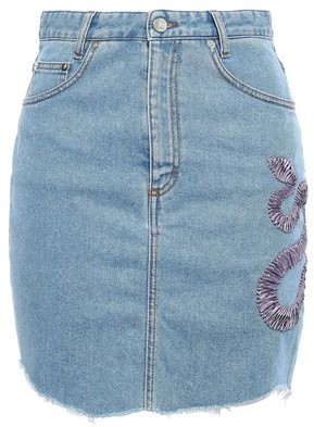 Just Cavalli Embroidered Denim Mini Skirt