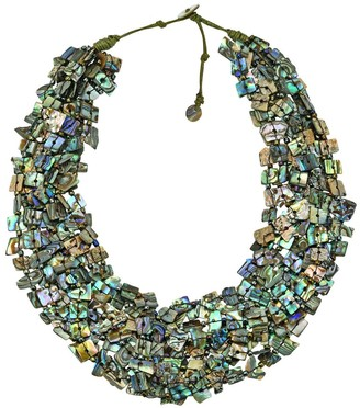 Aeravida Handmade Statement Peacock Abalone Shell Shards Multi-Stand Layered Necklace