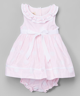 Laura Ashley Pink Polka Dot Yoke Dress & Diaper Cover - Infant & Girls
